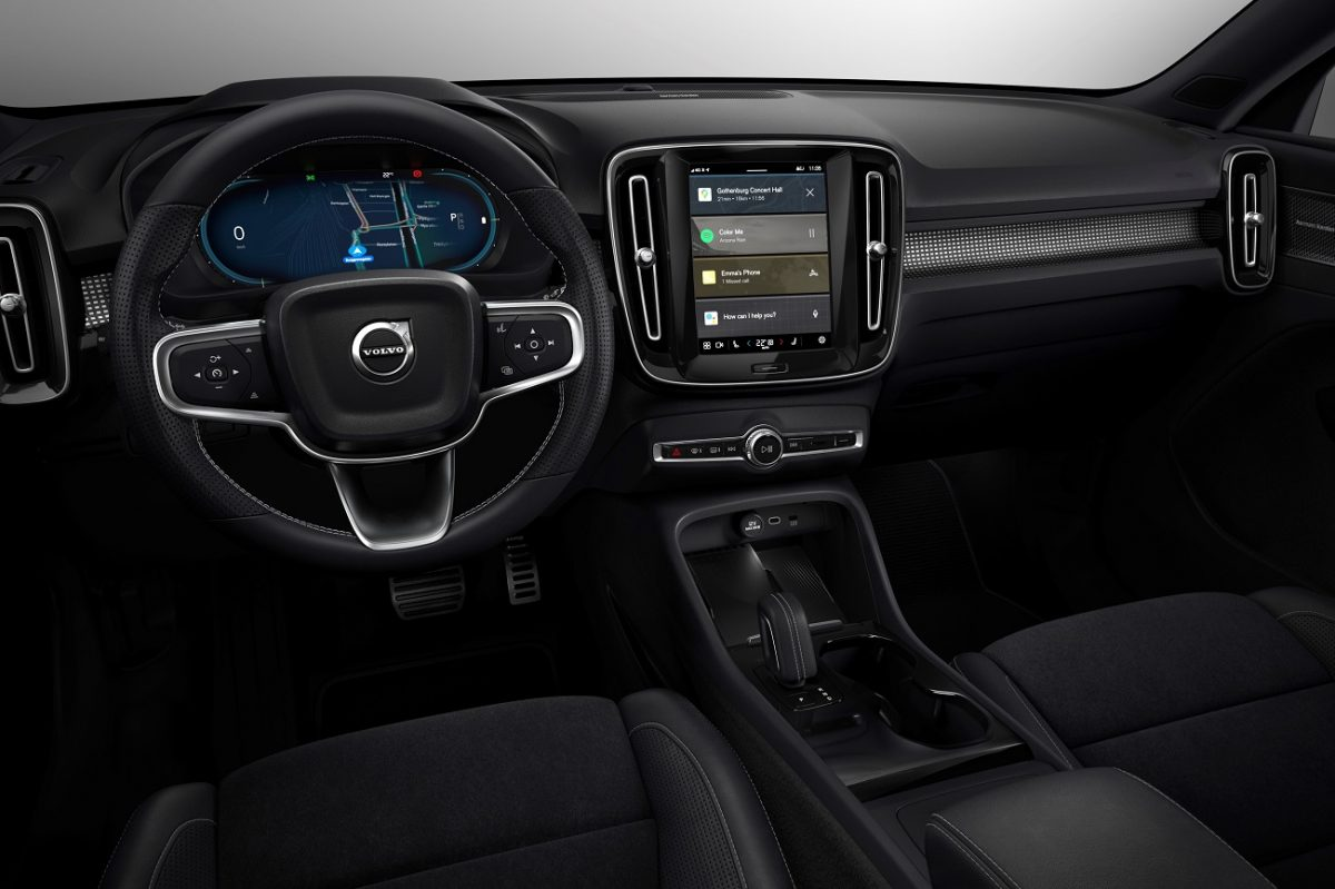 The interior of the XC40 Recharge, which will feature tech to reduce distractions