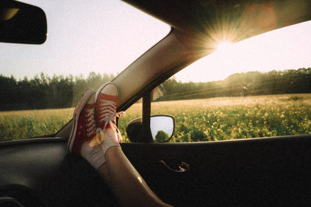 Resting feet on the dash