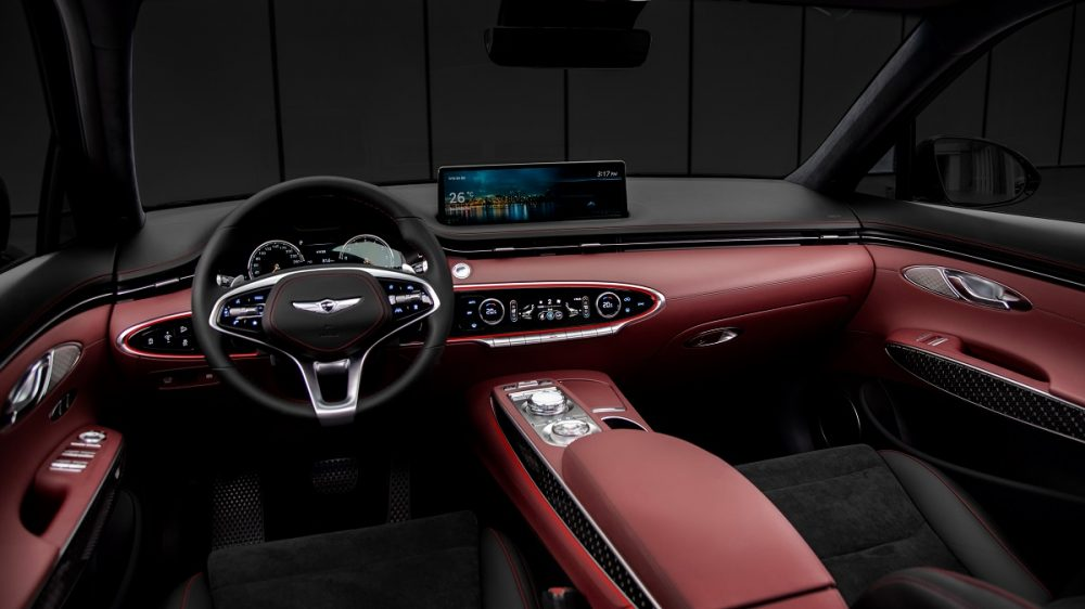 2022 Genesis GV70 front seats, steering wheel, and dashboard