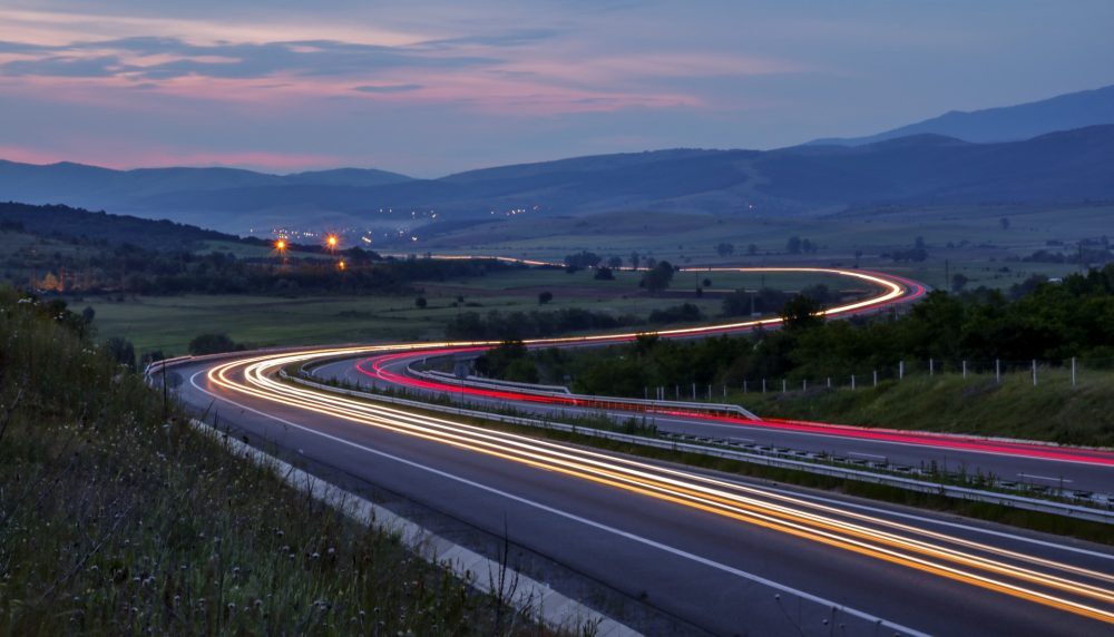 A time-lapse photo of the highway, the perfect place to drive a fast car and a perennial symbol of escape.