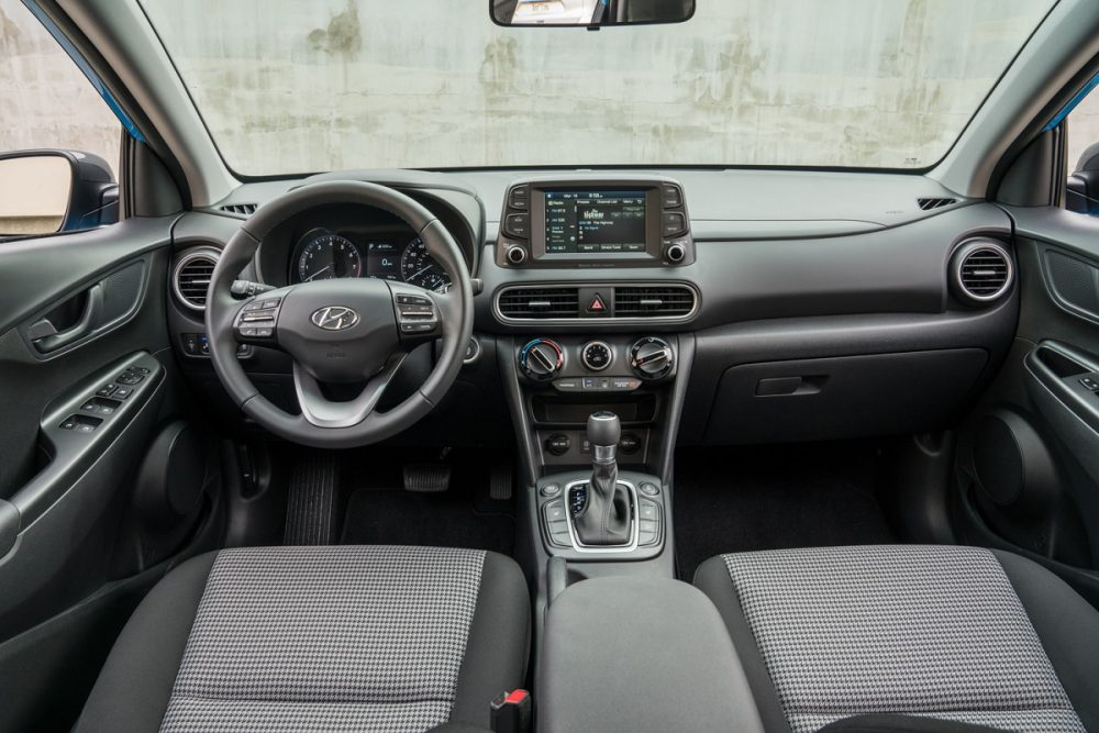 2021 Hyundai Kona interior front seats and steering wheel