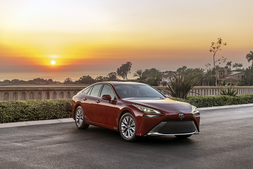 2021 Toyota Mirai XLE in Supersonic Red (front)