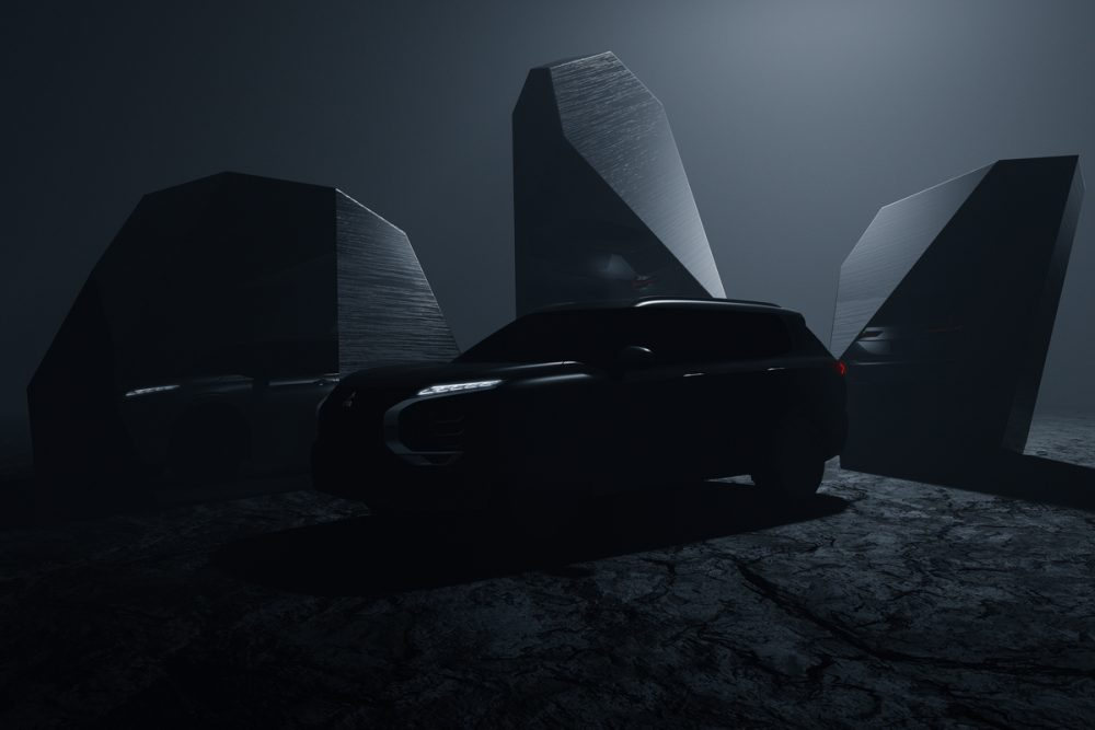 The teaser image of the 2022 Mitsubishi Outlander