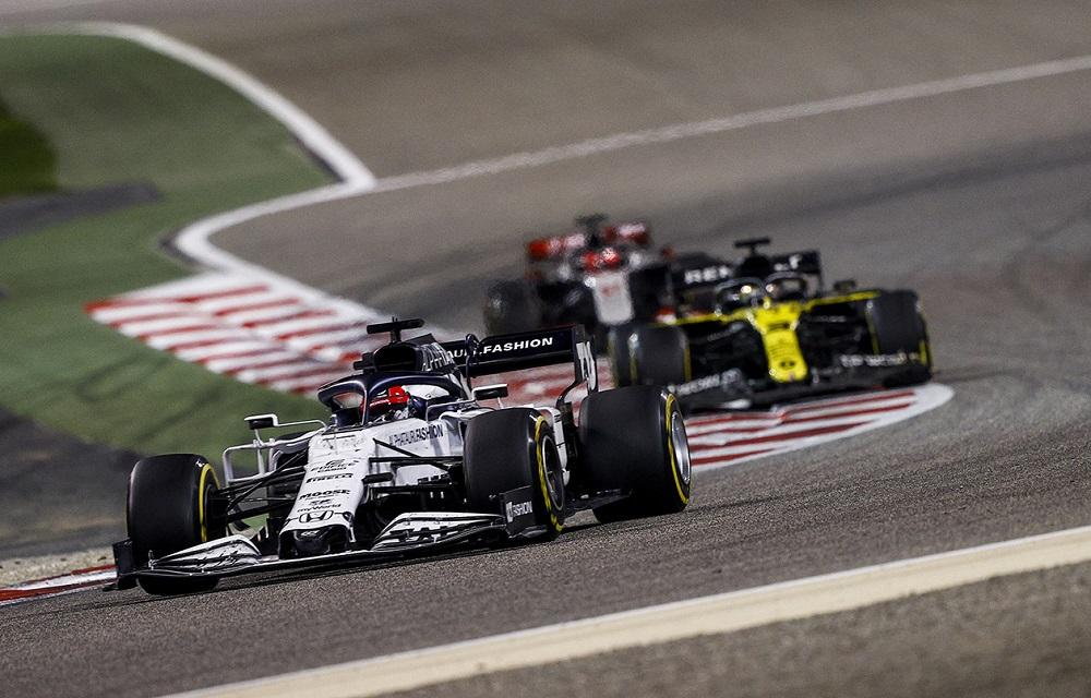 Daniil Kvyat leads Daniel Ricciardo and Pietro Fittipaldi at the 2020 Sakhir Grand Prix, the penultimate race in the 2020 F1 season