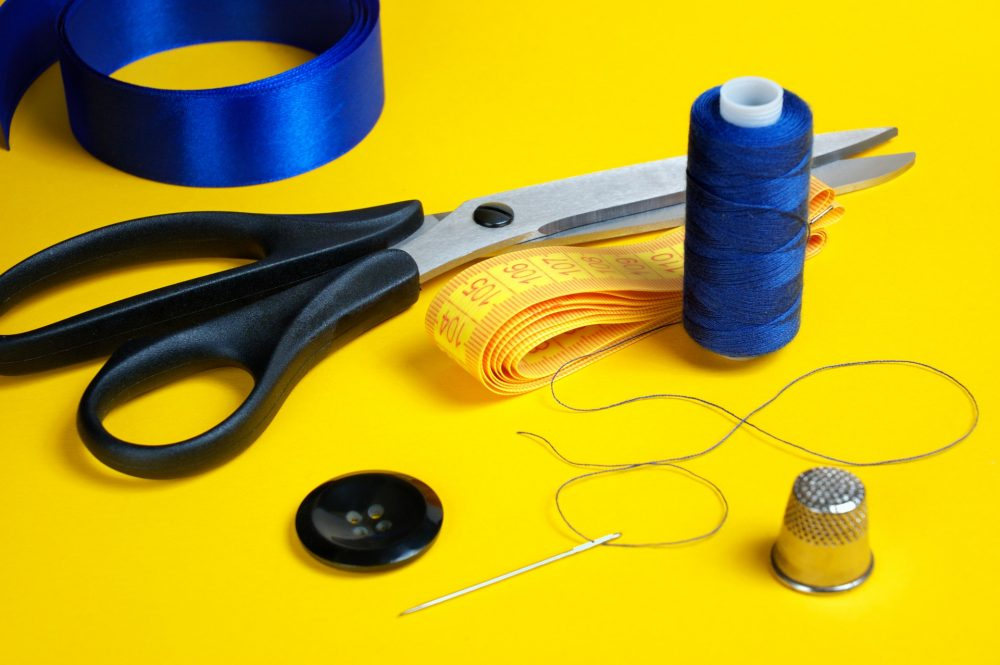 sewing kit needle thread button