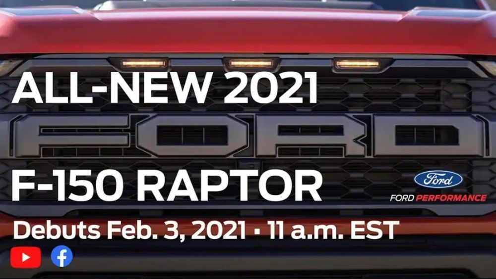 A teaser showing the 2021 Ford F-150 Raptor grille ahead of its Feb. 3 debut