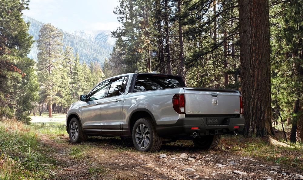 2021 Honda Ridgeline Sport in the forest (rear)