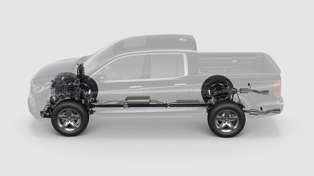 Transparent graphic showing the standard AWD powertrain, the reason Honda Ridgeline pricing went up