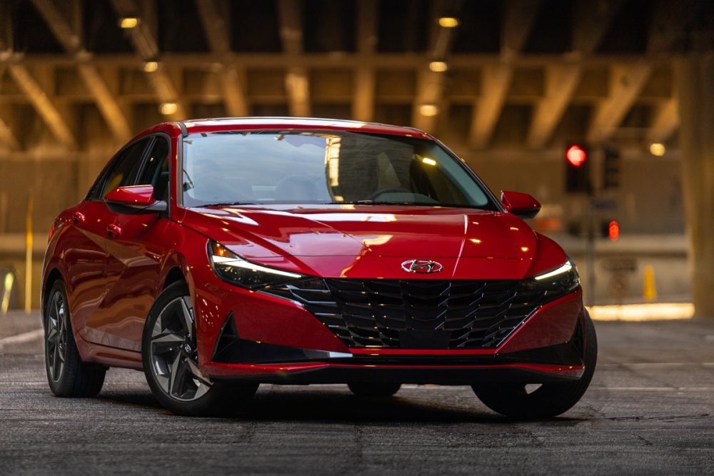 Front view of parked red 2021 Hyundai Elantra