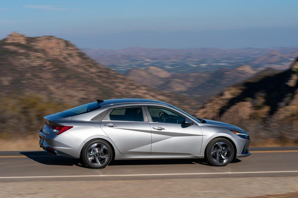 2021 Hyundai Elantra driving on mountain road