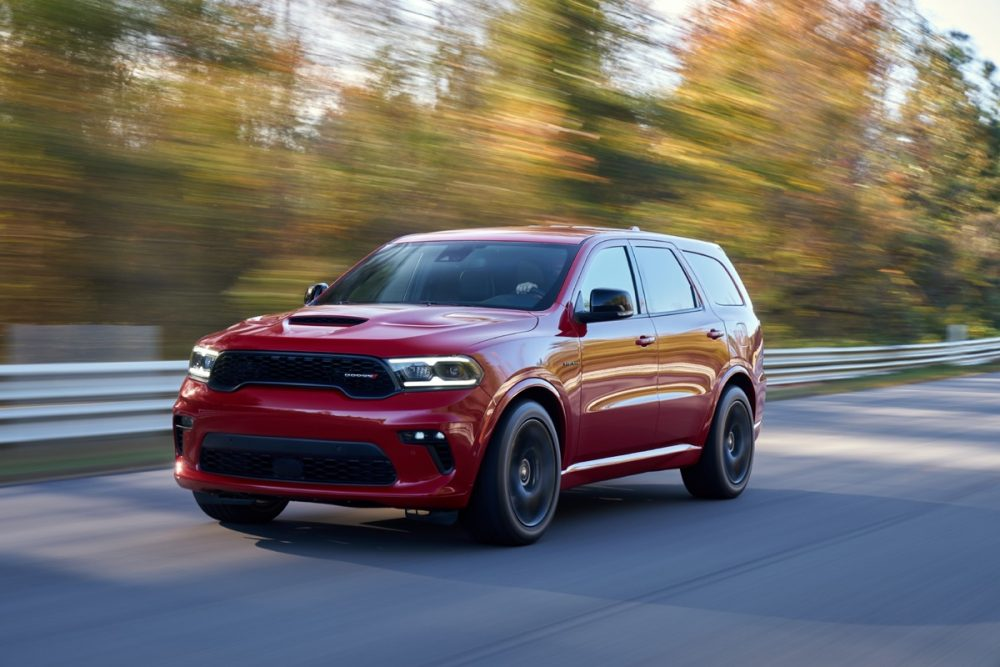 The 2021 Dodge Durango driving on the street
