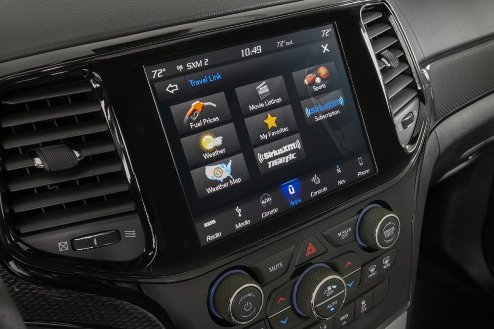 The Uconnect system of the 2021 Jeep Grand Cherokee Trackhawk