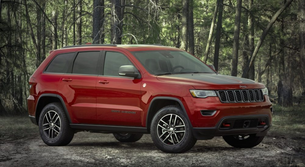 The 2021 Jeep Grand Cherokee Trailhawk in a forest