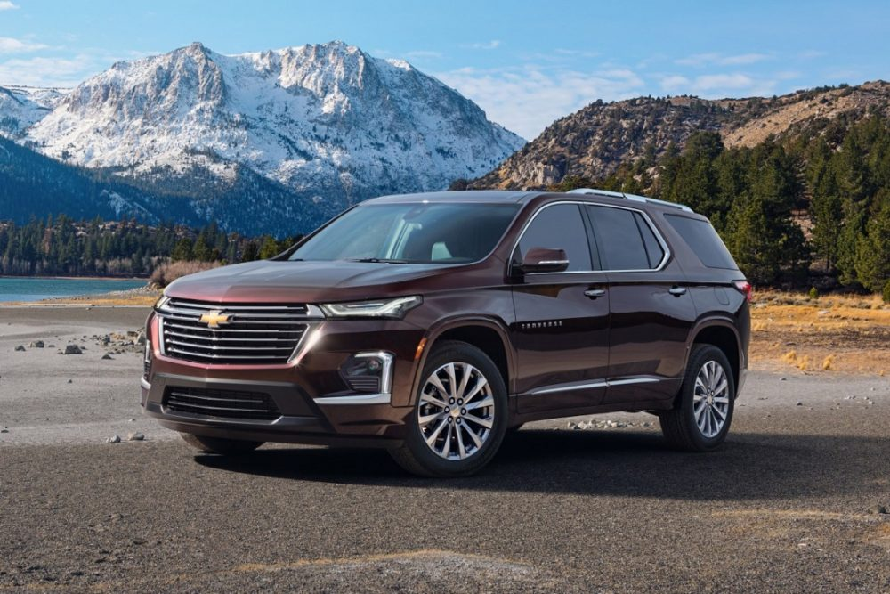 Burgundy 2022 Chevrolet Traverse Premier with mountain backdrop