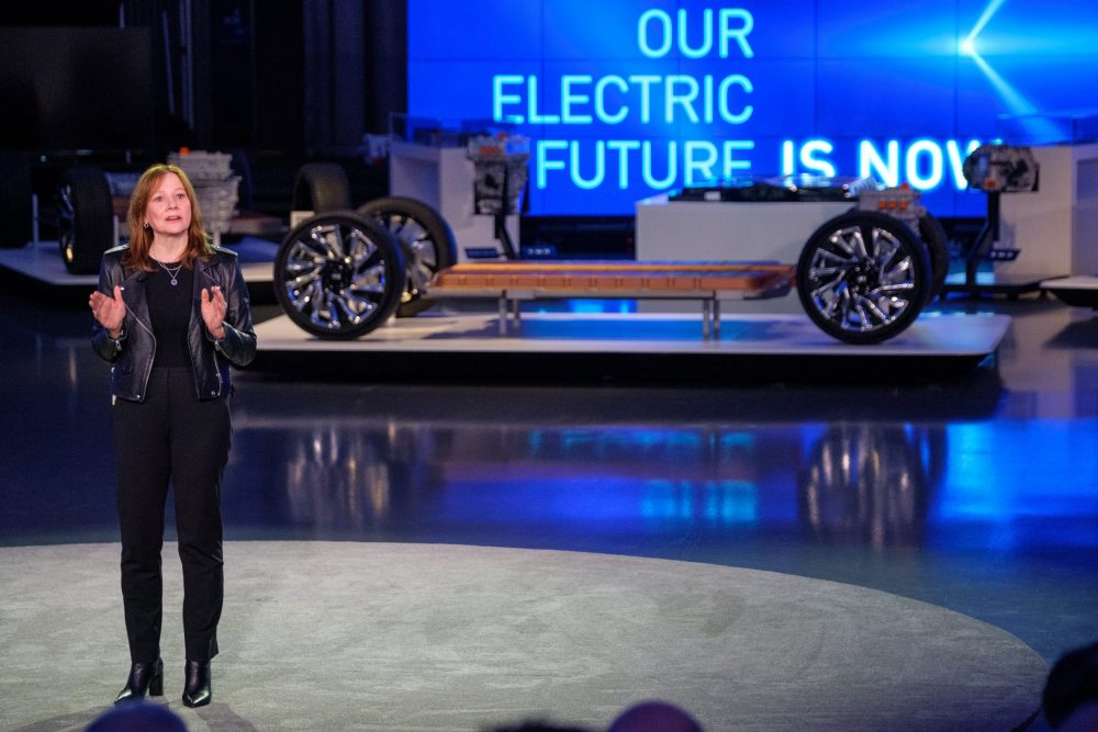 Mary Barra announcing plans for an electric future