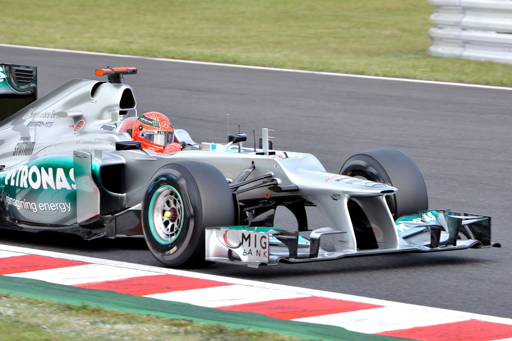 Michael Schumacher in the 2012 Mercedes F1 car. The one with a horrible step nose that we hope 2022 F1 regulations, and future regs, never again reproduce.