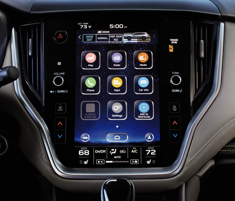 A depiction of the Subaru STARLINK Infotainment system's touch-screen display