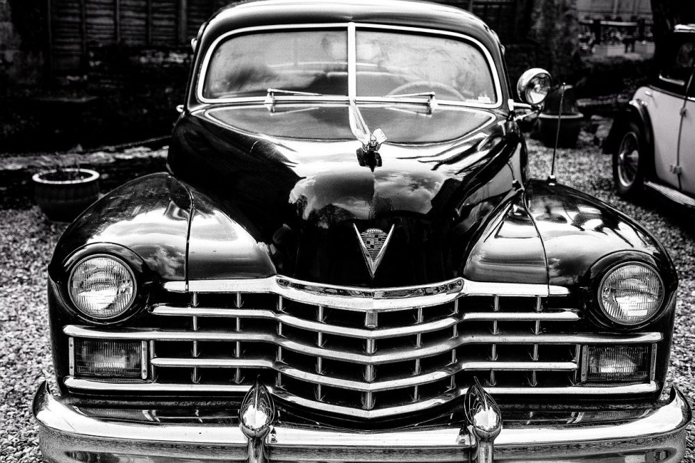 An old car in black and white