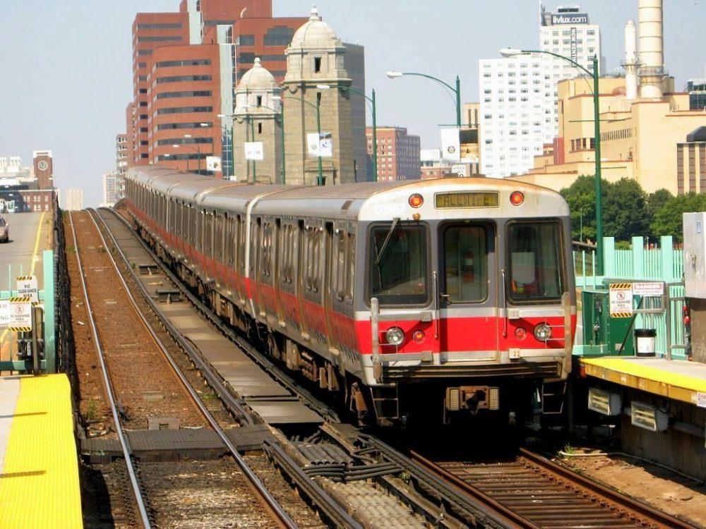 A subway train in Boston