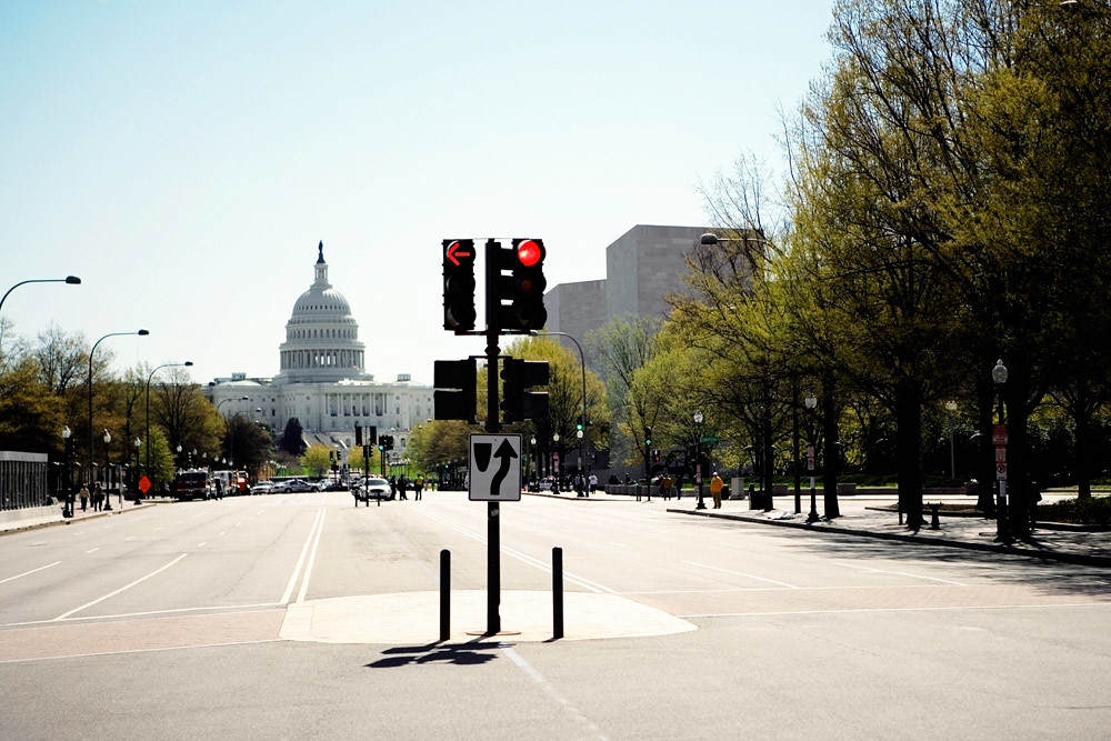 Red traffic light in Washington, D.C.