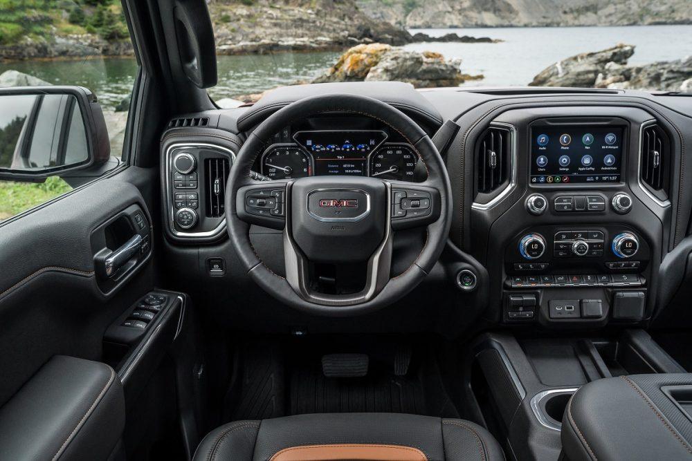 Steering wheel and touch screen of 2021 GMC Sierra 1500 Denali