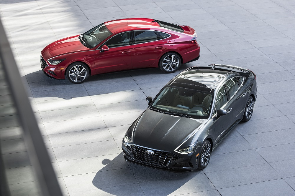 Winners of 2021 Top Safety Pick awards include these black and red Hyundai Sonatas