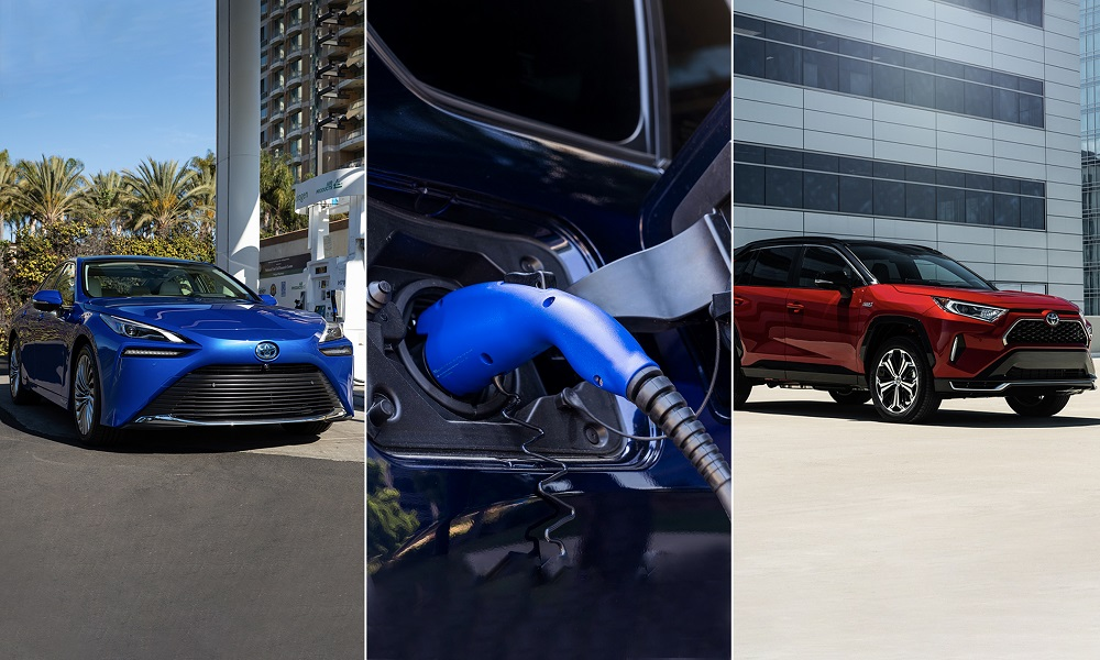 Side by side images of Toyota electrified products: Mirai, charging port closeup, and RAV4 Prime