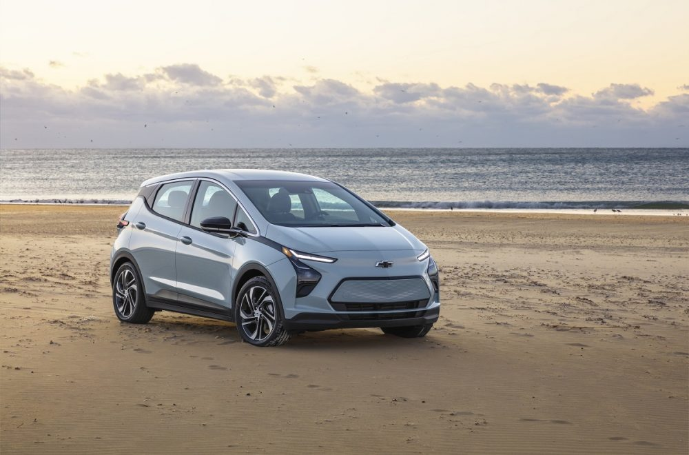 Front side view of 2022 Chevrolet Bolt EV parked on beach