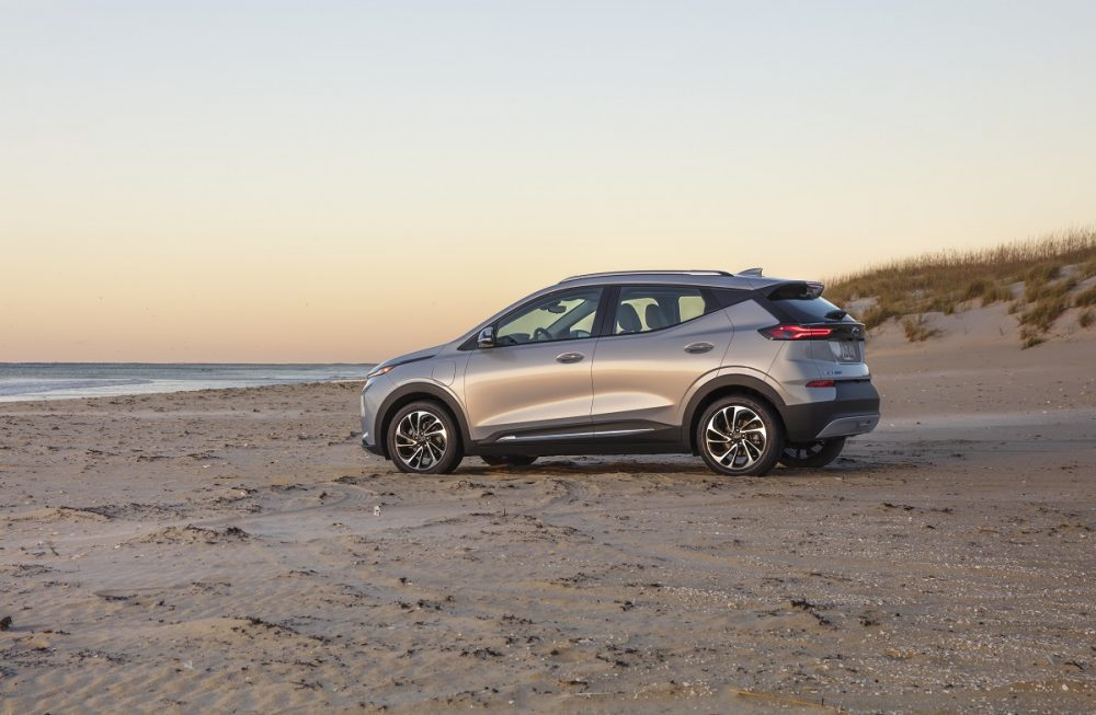 Side view of 2022 Chevrolet Bolt EUV on beach