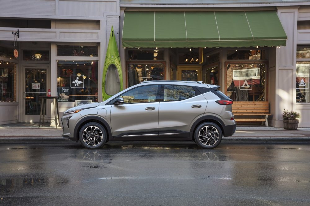Side view of 2022 Chevrolet Bolt EUV parked on street