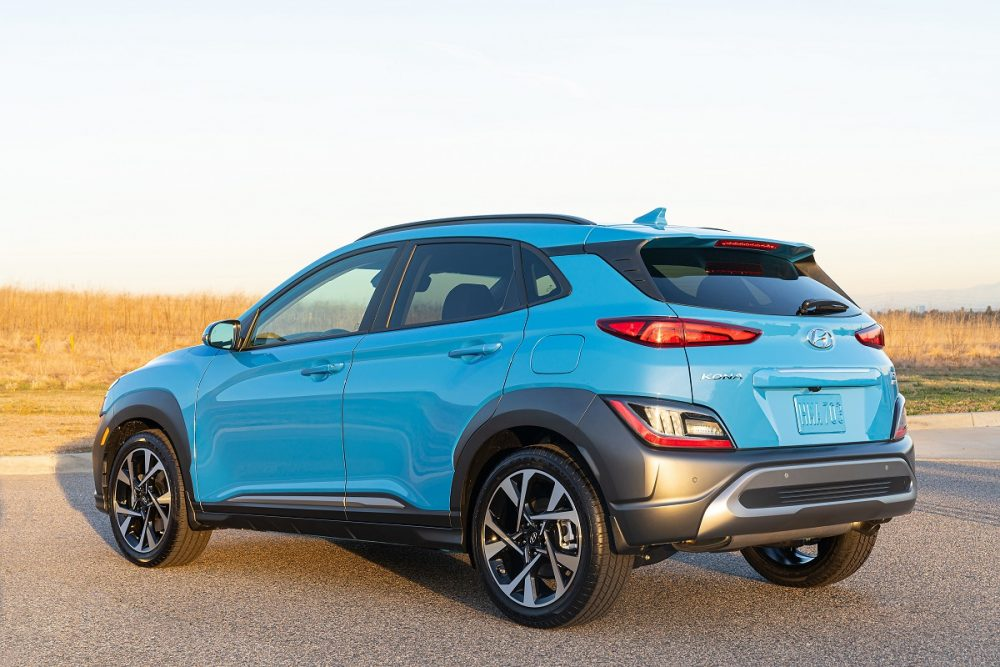 Rear side view of parked 2022 Hyundai Kona