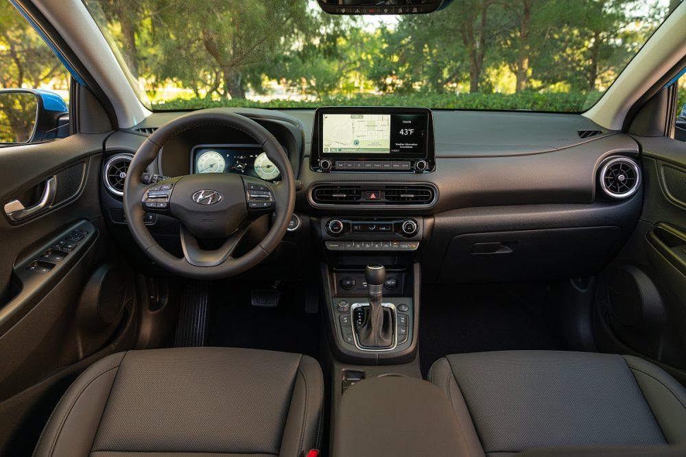 Front seats and dash of 2022 Hyundai Kona