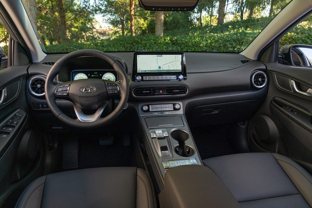Front seats and dash of 2022 Hyundai Kona Electric