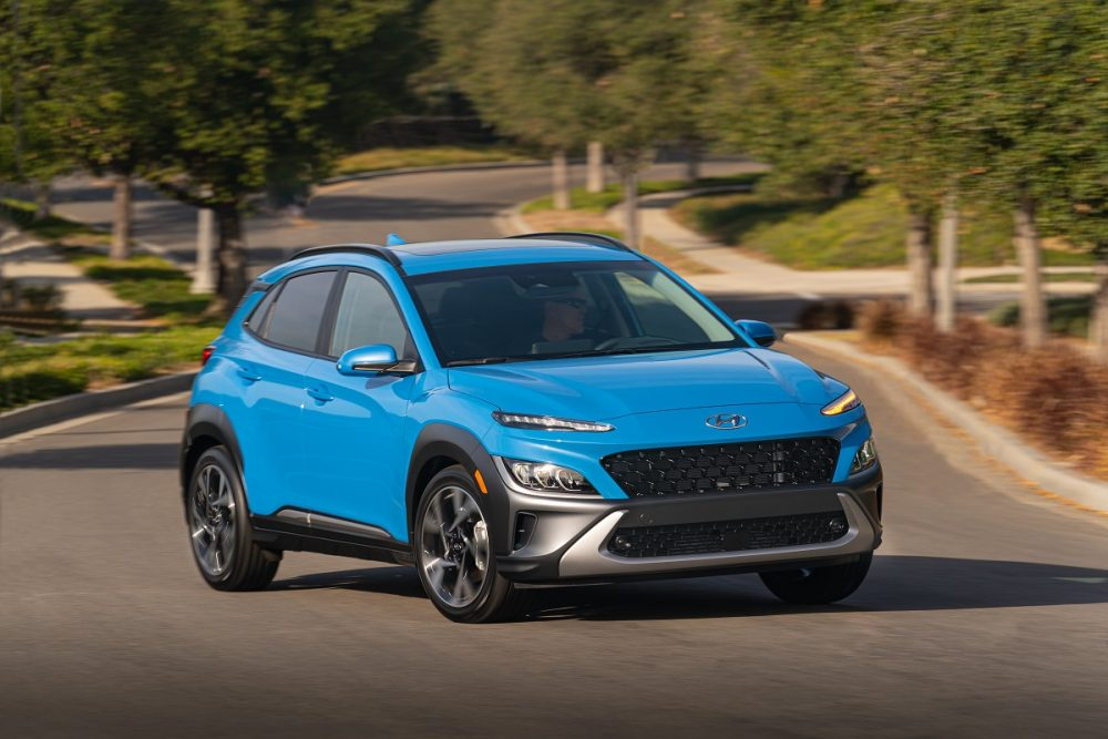 Front side view of 2022 Hyundai Kona making a turn