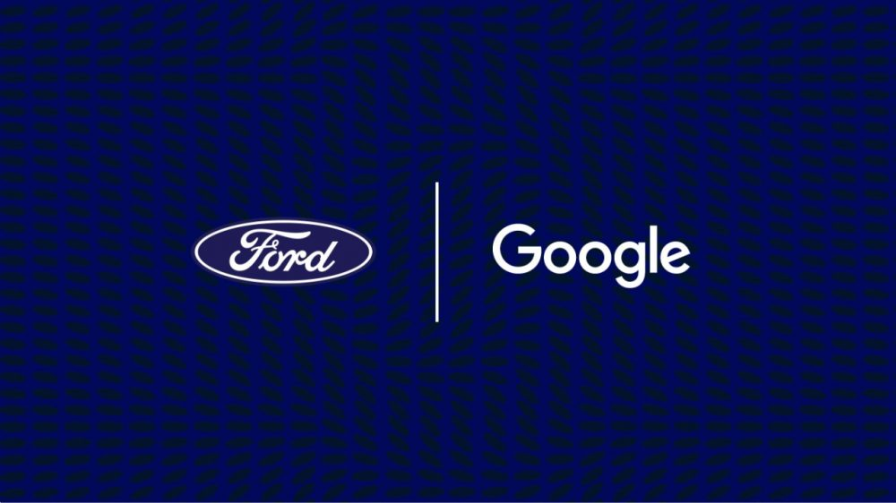 Ford Google partnership logo on blue background