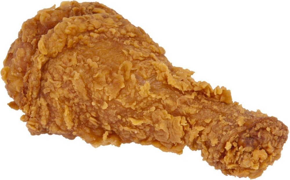 A fried chicken drumstick, much like the ones served at KFC, and something you shouldn't try to eat while driving.