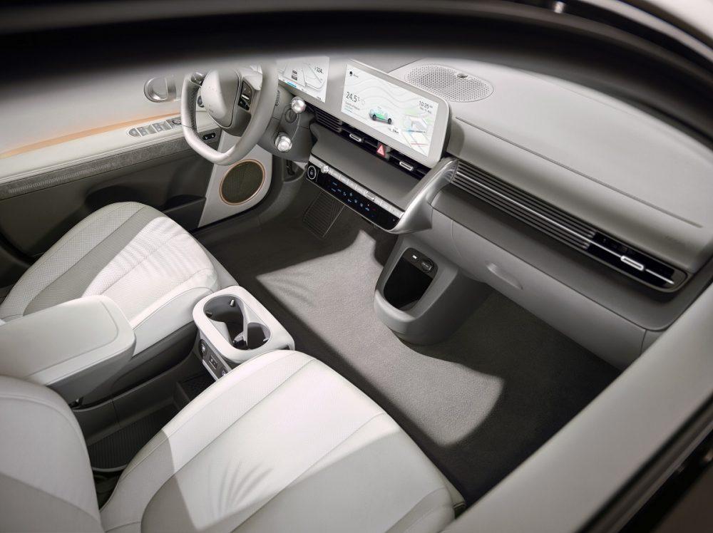 Overhead view of 2022 Hyundai Ioniq 5 dash and front seats