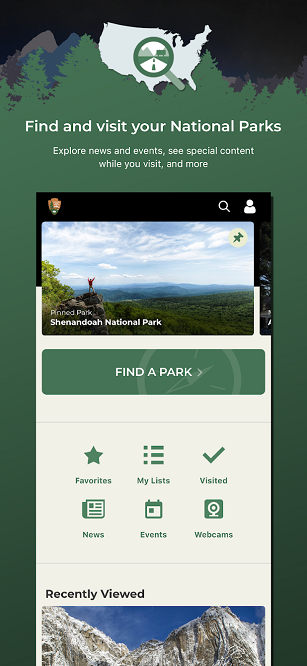 National Parks Service app - find a park