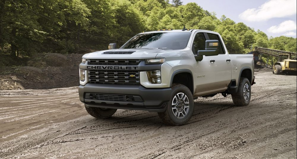 Front side view of Chevrolet Silverado 2500HD WT trim at worksite
