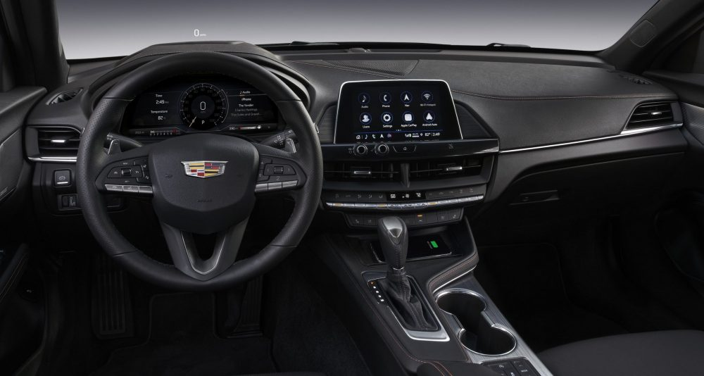 Steering wheel and infotainment system of the 2021 Cadillac CT4