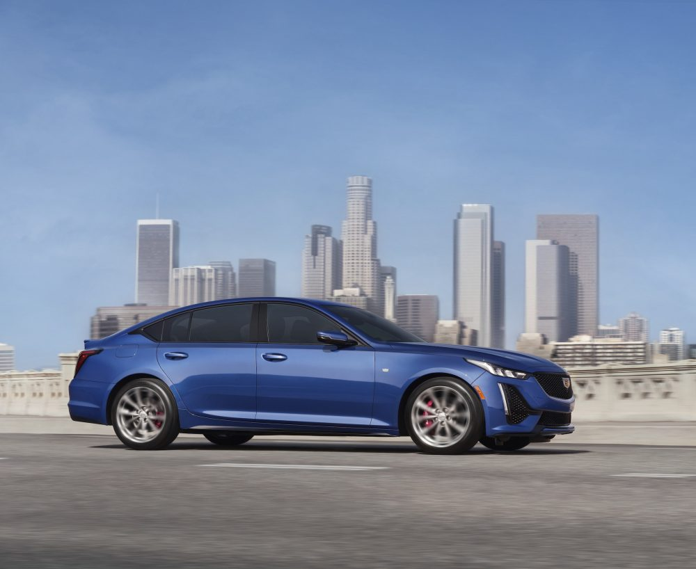 2021 Cadillac CT5 in front of a city skyline