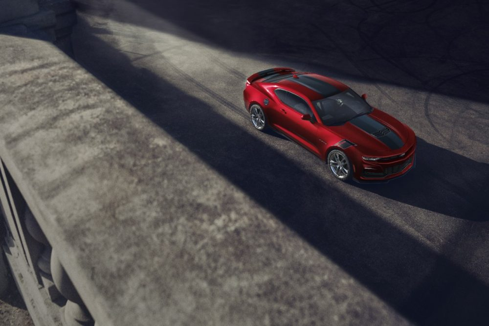 2021 Chevrolet Camaro SS and LT1 parked on a rooftop