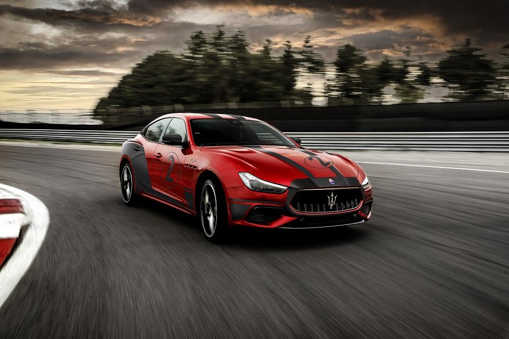 Red 2021 Maserati Ghibli Trofeo at the track