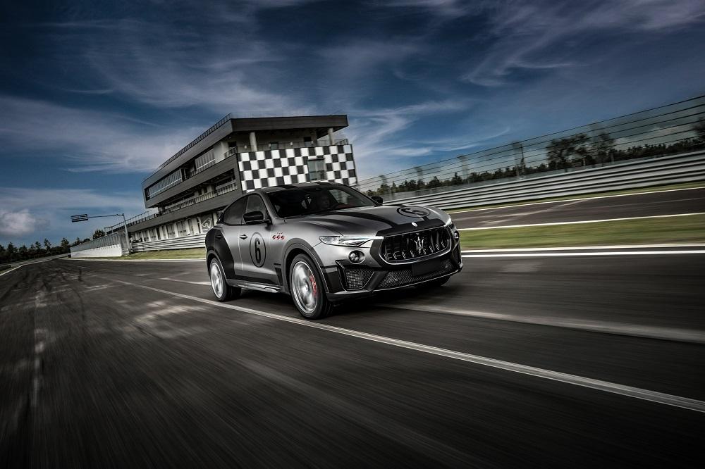Grey 2021 Maserati Levante Trofeo at the track