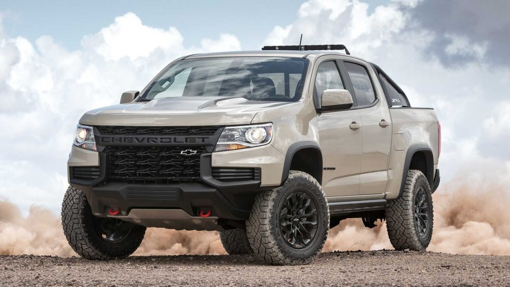 The 2021 Chevrolet Colorado pounding some sand in a desert