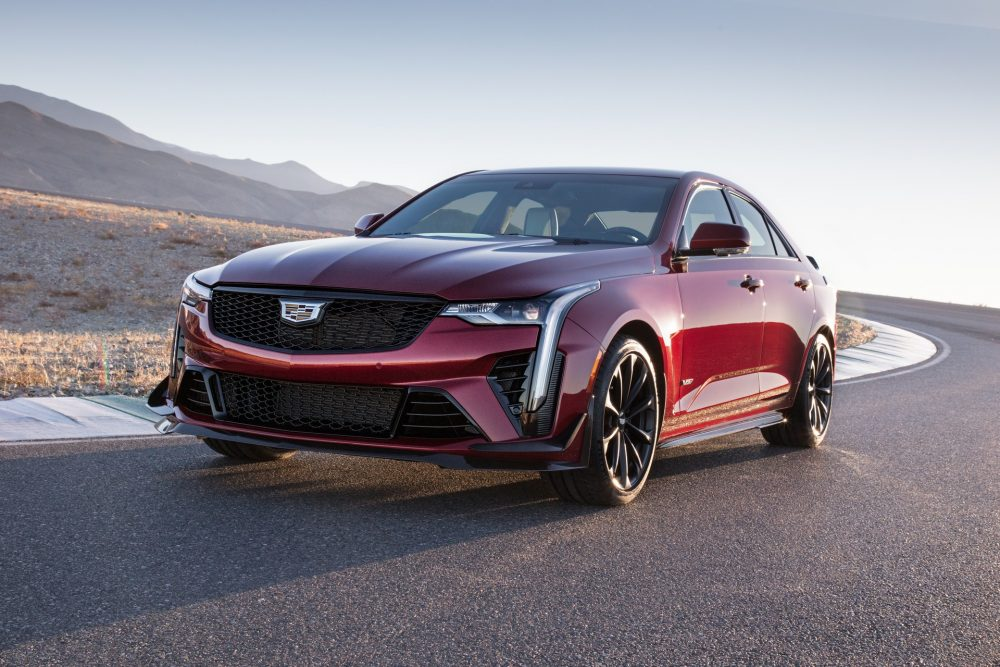 The 2022 Cadillac CT4-V Blackwing on a mountain road