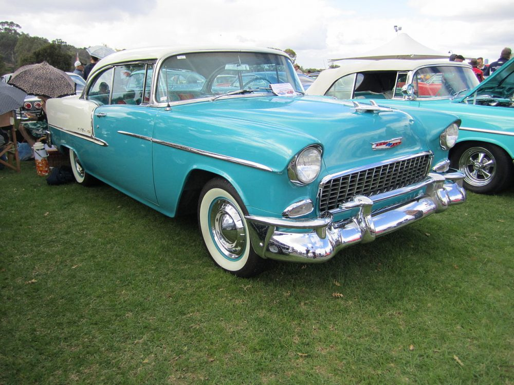 """A turquoise 1955 Chevrolet Bel Air, much like one of the two seen in the film """"Capote"""""""