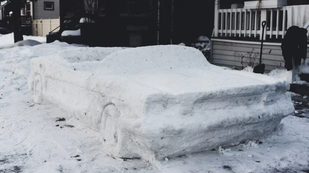 Jacon DiMaria Ford Mustang snow sculpture