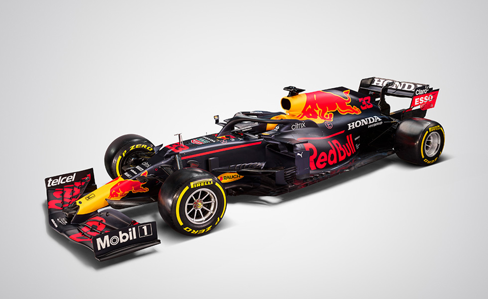 The Red Bull RB16B Honda F1 car with which Max Verstappen took pole in Bahrain