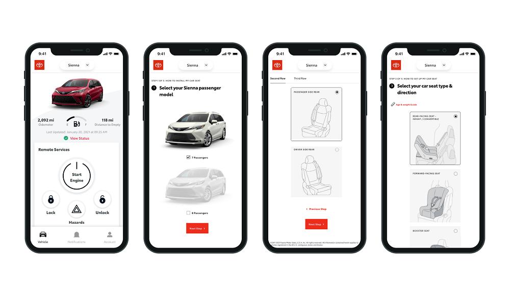 Toyota Car Seat App - menus and functions